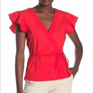 J. Crew Poplin Flutter Sleeve Wrap Top in red/pink